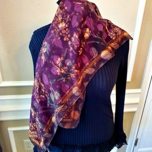 Beautiful Purple and Floral Silk Scarf